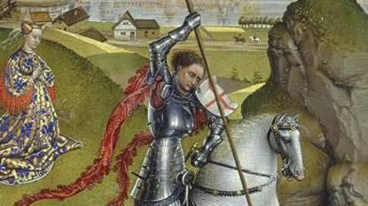 Leyenda de sant Jordi caballero matando a dragon