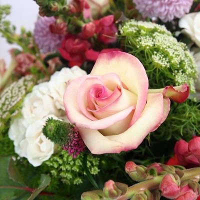 ramo de rosas rosas con complementos