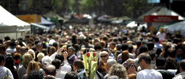 Sant Jordi en las Ramblas